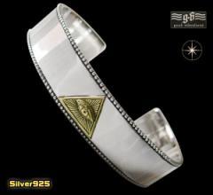 【GV】プロビデンスの目のバングル(1)SV+B/(メイン)シルバー925 銀製ホルスの目 送料無料