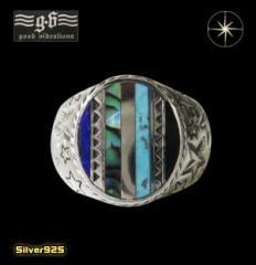 goodvibrations(GV)スターインレイリング(1)17号・19号・21号・23号/(メイン)スター・星・天然石・指輪・リング・シルバー925製・銀