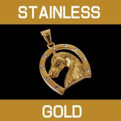ステンレスペンダント・ホースシュー(3)金/【メイン】 サージカルステンレス・馬蹄・蹄鉄・ホースシューネックレス・金色・stainlesscp