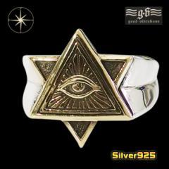 good vibrations【GV】プロビデンスの目の指輪(6)SV+B17号フリーサイズ/【メイン】 フリーメイソン メンズ   指輪 シルバー925銀
