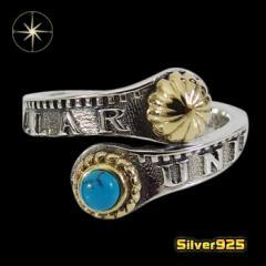 コインパーツリング(1)SV+Bターコイズ13号フリーサイズ/【メイン】 銀貨 天然石 ターコイズ  指輪 シルバー925銀 レディース メンズ