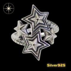 スターリング(16)18号フリーサイズ/【メイン】 星 スター メンズ  指輪 シルバー925銀 レディース メンズ