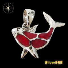 イルカのペンダント(4)赤/【メイン】 イルカ 動物 赤  ペンダント・ネックレス シルバー925銀 レディース メンズ