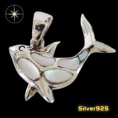 イルカのペンダント(4)白シェル/【メイン】 イルカ 動物 貝  ペンダント・ネックレス シルバー925銀 レディース メンズ