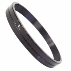 ステンレス バングル(2)黒ライン (メイン) 送料無料 サージカルステンレス メンズ レディース ブラックコーティング
