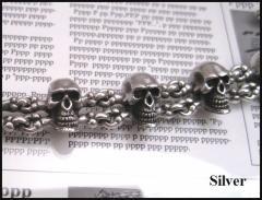 パイレーツスカルブレスレット 【メイン】・シルバー925ドクロ・骨銀シルバーブレスです人気男性送料無料