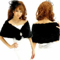 ふわふわファー ケープ フロントブローチボタン留めケープ ドレスや着物にも レディース ボレロ ショール ケープ 羽織り