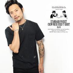GLADHAND グラッドハンド STANDARD POCKET CREW NECK USED T-SHIRTS -BLACK- メンズ Tシャツ 半袖 パックT 無地 ストリート atftps
