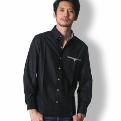 BUZZ WEAR 長袖カジュアルシャツ メンズ 秋冬春用 黒/白/紺 M-XL