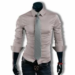 カジュアルシャツ ワイシャツ メンズ 長袖 無地 ロールアップ トップス ビジネス コーデ 3000円以上送料無料