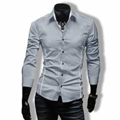 カジュアルシャツ ワイシャツ メンズ 長袖 無地 ストライプ トップス ビジネス コーデ 3000円以上送料無料
