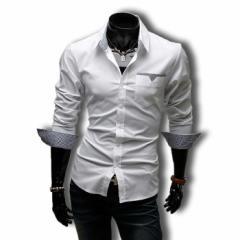 長袖シャツ メンズ カジュアル ワイシャツ ボタンダウン 無地 胸ポケット ロールアップ トップス ビジネス BUZZ WEAR [バズ ウェア]