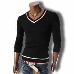 Tシャツ メンズ ロンT 長袖 トリコロール 無地 シンプル カジュアル トップス ロングスリーブ キレイめ ソリッド コーデ カットソー
