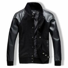 MA-1 ジャケット メンズ スタジャン ブルゾン ジャンパー PUレザー アウター スタンドカラー ストリート 秋服 BUZZ WEAR [バズ ウェア]