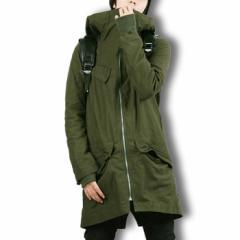 ロング丈 モッズコート ロングコート メンズ 大きいサイズ アウター アーミー 無地 シンプル フード BUZZ WEAR [バズ ウェア]
