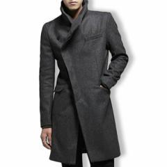 コート メンズ アウター ハーフコート ハイネック 無地 斜めボタン アシンメトリー きれいめ 細身 スリム ジャケット 3000円以上送料無料
