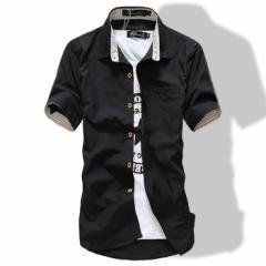 カジュアルシャツ メンズ ワイシャツ 半袖 無地 ロールアップ トップス コーデ BUZZ WEAR [バズ ウェア] 2018春新作