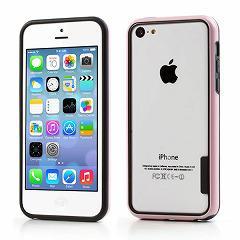 iPhone5c ハイブリッドバンパーケース プラスチック&TPU ブラック/ピンク 電化製品 Case for iPhone 5c