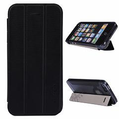 【iPhoneSE ケース】iPhoneSE / iPhone5s  iPhone SE iPhone 5s スタンド機能付き二つ折りケース 三つ折スタンド ブラック 電化製品