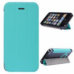 【iPhoneSE ケース】iPhoneSE / iPhone5s  iPhone SE iPhone 5s スタンド機能付き二つ折りケース 三つ折スタンド ブルー 電化製品