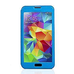 Galaxy S5 ギャラクシーS5 手帳型ウィンドウビューフリップライチレザーケース スタンド機能付き ブルー 電化製品