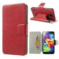 Galaxy S5 ギャラクシーS5 軽量手帳型カードスロットレザーケース スタンド機能付き レッド 電化製品 Galaxy S5 Leather Cases