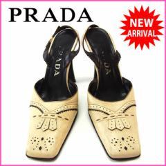 プラダ PRADA パンプス シューズ 靴 レディース ♯36ハーフ スクエアトゥ スカラップ [中古] 激安 セール J8324