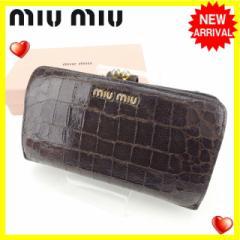 ミュウミュウ miumiu 長財布 がま口 レディース クロコダイル調人気 セール【中古】 Y4133