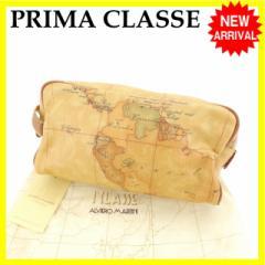 プリマクラッセ PRIMA CLASSE セカンドバッグ サイドハンドル付き 男女兼用 地図柄 [中古] 良品 セール J11286