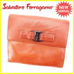 サルヴァトーレフェラガモ Salvatore Ferragamo Wホック財布 二つ折り財布 レディース ヴァラ金具 [中古] 激安 人気 Q207
