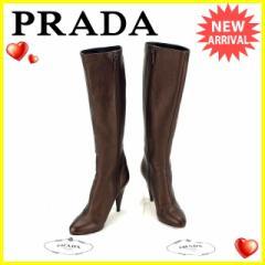 プラダ PRADA ブーツ シューズ 靴 レディース ♯35ハーフ ハイヒール ロング [中古] 美品 セール A1009