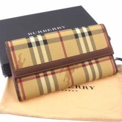 バーバリー BURBERRY 長財布 Wホック 二つ折り メンズ可 ノバチェック未使用 セール【中古】 Y3084