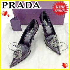 プラダ PRADA パンプス シューズ 靴 レディース ♯35 コサージュ付き ポインテッドトゥ [中古] 良品 セール J20113