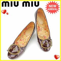 ミュウミュウ miu miu パンプス #37 1/2 ローヒール シューズ 靴 レディース 人気 良品【中古】 A1610