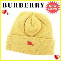 バーバリー BURBERRY 帽子 レディース メンズ 可 ホース刺繍 ニット帽 美品 セール【中古】 L1572