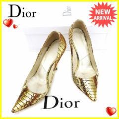ディオール Dior パンプス シューズ 靴 レディース ♯36ハーフ ポインテッドトゥ パイソン 人気 セール【中古】 L1578