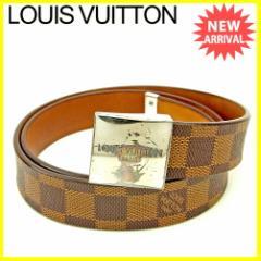 ルイ ヴィトン Louis Vuitton ベルト レディース メンズ 可 サンチュールキャレ ダミエ人気 セール【中古】 T3641