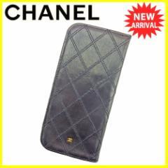 シャネル CHANEL メガネケース オールドシャネル レディース メンズ 可 ダブルステッチ ココマーク 中古 廃盤 レア T5518