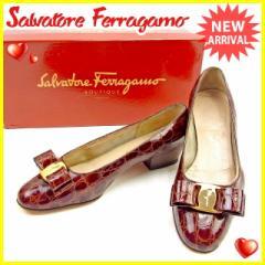 サルヴァトーレ フェラガモ Salvatore Ferragamo パンプス シューズ 靴 レディース ♯4ハーフC クロコダイル調 ヴァラリボン [中古] 人気