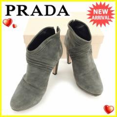 プラダ PRADA ブーツ シューズ 靴 レディース ♯37ハーフ ショートブーツ [中古] 訳あり セール J18660