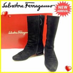 サルヴァトーレ フェラガモ Salvatore Ferragamo ブーツ シューズ 靴 レディース ♯6 スクエアトゥ ミドル [中古] 人気 セール J14585