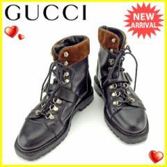 グッチ GUCCI ブーツ シューズ 靴 レディース ♯34ハーフC ショート トレッキング [中古] 良品 セール J15440