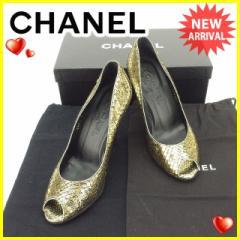 シャネル CHANEL パンプス シューズ 靴 レディース ♯37C ココマーク オープントゥ [中古] 美品 セール J19802