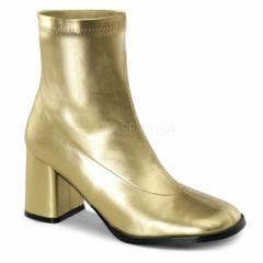 即納靴 コスプレ系 ストレッチ アンクル ショートブーツ 8cmチャンキーヒール 金 ゴールド つや消し 大きいサイズあり