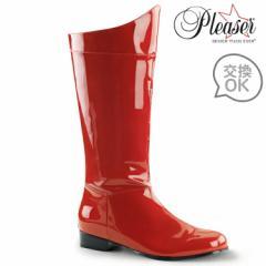 即納靴 コスプレ系 メンズに大人気 ワイドな筒周り プラスサイズ 薄厚底ロングブーツ バックジッパー付 2.5cmヒール 赤レッドエナメル