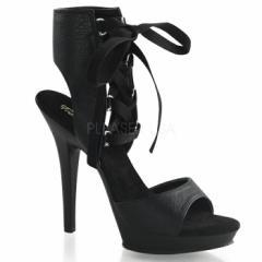 取寄せ靴 新品 レースアップ編み上げ 薄厚底ブーティーサンダル 12.5cmヒール 黒ブラックつや消し Pleaserプリーザー 大きいサイズあり