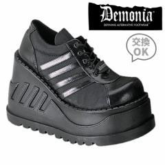 即納靴 パンクロック系 厚底スニーカー 12cm厚底 黒つや消し DEMONIA デモニア