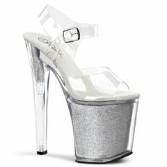 即納靴 送料無料 カラーラメ入りソール クリアベルト付き超厚底サンダル 20cmヒール クリア銀 プリーザー