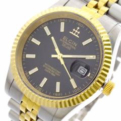 レビューで次回2000円オフ 直送 エルジン ELGIN 腕時計 メンズ FK1422TG-B クォーツ ブラック シルバー