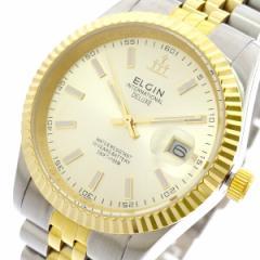 レビューで次回2000円オフ 直送 エルジン ELGIN 腕時計 メンズ FK1422TG-G クォーツ ゴールド シルバー